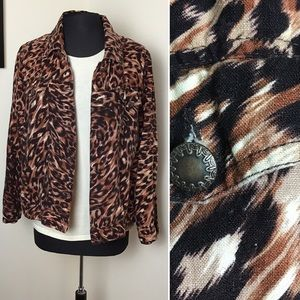 Carole Little-Leopard Print, Linen Jacket
